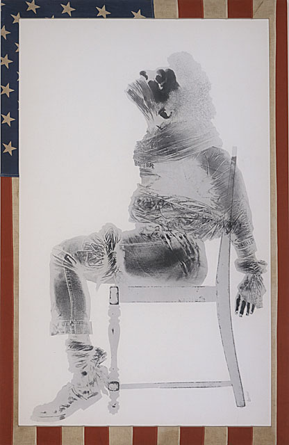 David Hammons, Injustice Case, 1970, print, body print (margarine and powdered pigments), and American flag, Sheet: 63 x 40 1/2 in., Museum Acquisition Fund (M.71.7), Prints and Drawings Department
