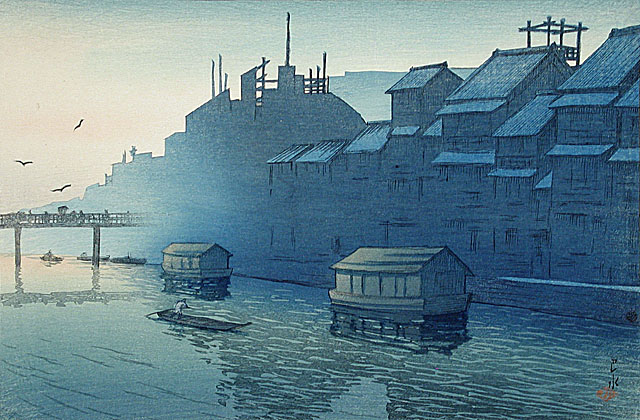 Kawase Hasui, Morning at Dotonbori, Osaka, February 14, 1921, gift of Mr. and Mrs. Felix Juda