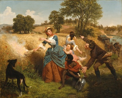 Emmanuel Gottlieb Leutze, Mrs. Schuyler Burning Her Wheat Fields on the Approach of the British, 1852, bicentennial gift of Mr. and Mrs. J. M. Schaaf, Mr. and Mrs. William D. Witherspoon, Mr. and Mrs. Charles C. Shoemaker, and Jo Ann and Julian Ganz Jr.