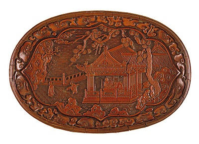 Oval Tray (Duoyuan Pan) with Pavilion on a Garden Terrace, China, Yuan dynasty, 1279-1368, lacquerware, carved red lacquer on wood, gift of Mr. and Mrs. John H. Nessley, photo © 2012 Museum Associates/LACMA