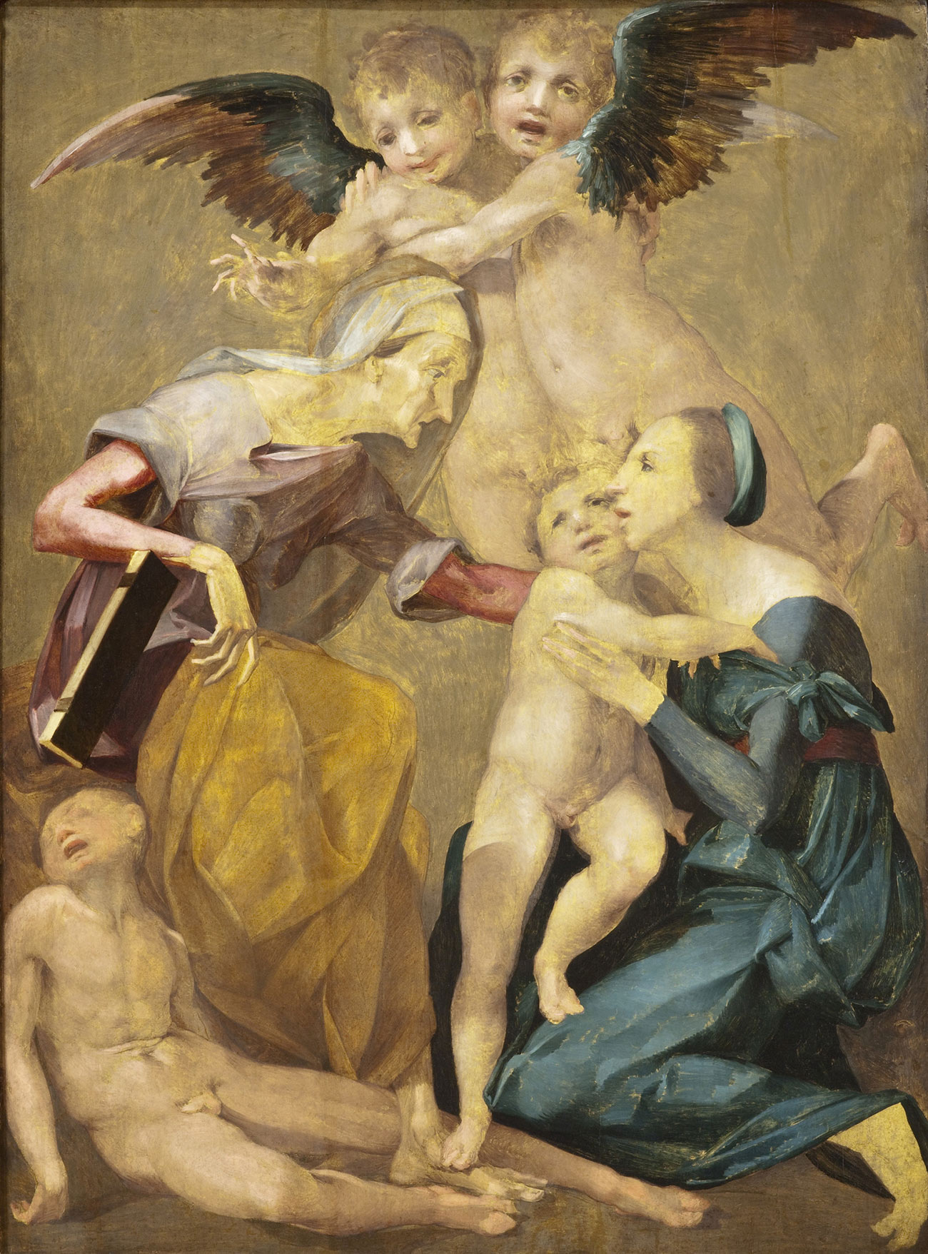 Painting of two women, the older one in a gold skirt with a dead or unconscious boy at her feet, and the younger in a blue dress holding a nude boy. Two angels hover behind them, dark wings extended.