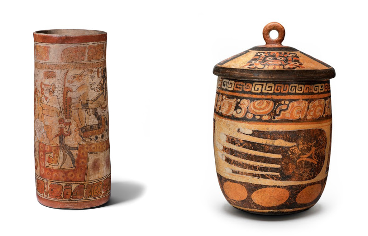 Left: Cylinder Vase with Moon Goddess and Other Celestial Beings, Maya, 600–900, Los Angeles County Museum of Art, purchased with funds provided by Camilla Chandler Frost, photo © Museum Associates/LACMA; Right: Lidded Vessel with Images of an Open Hand, Maya, 580 –700, Los Angeles County Museum of Art, purchased with funds provided by Camilla Chandler Frost, photo © Museum Associates/LACMA