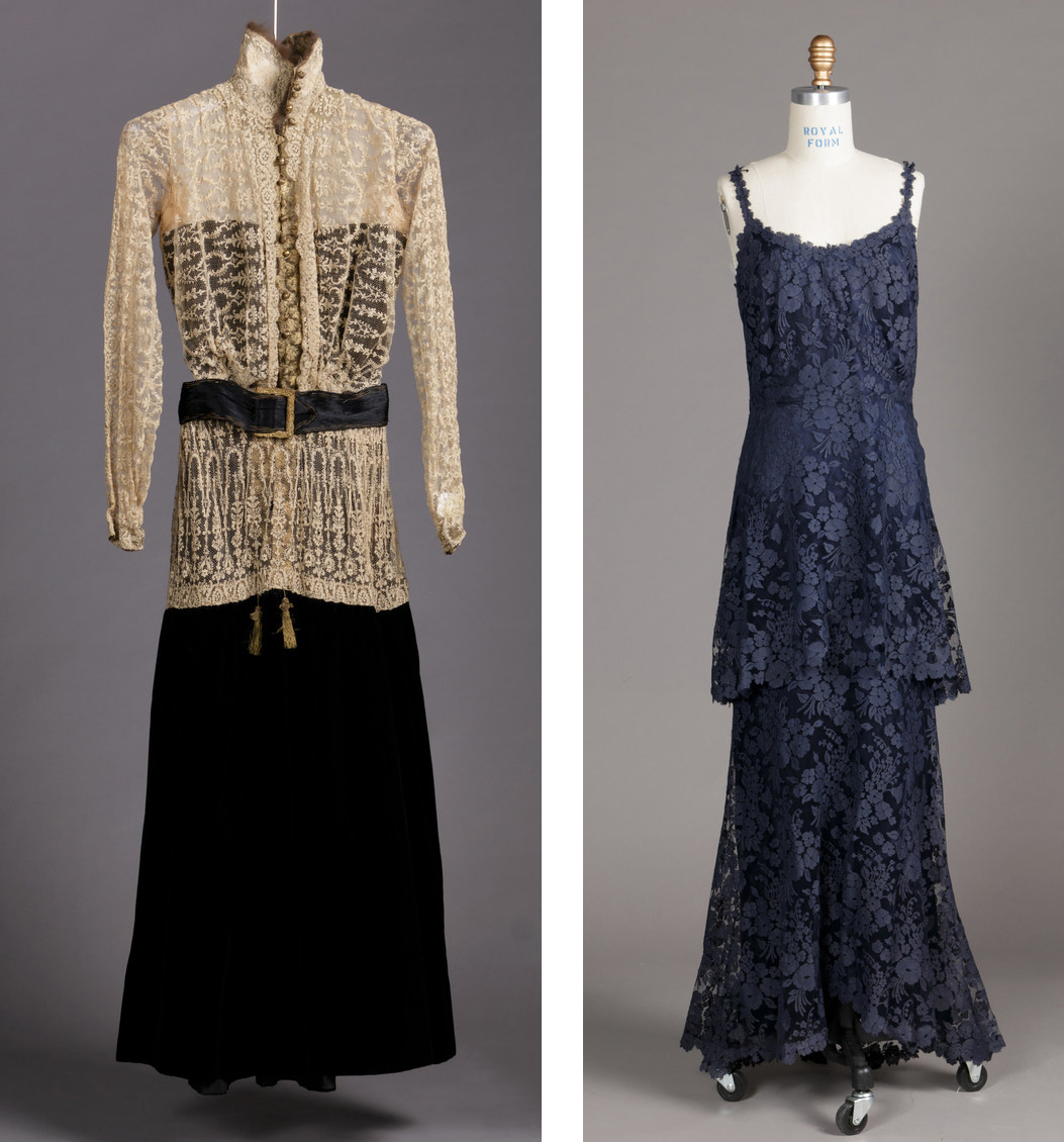 "(Left) Image 1: Thurn, Woman's Dress (Bodice and Skirt), c. 1915, Los Angeles County Museum of Art, gift of Alexander J. and Anthony D. Cassatt, photo © Museum Associates/LACMA; (Right) Image 2: Gabrielle (""Coco"") Chanel, Woman's Dress, c. 1932, Los Angeles County Museum of Art, gift of Mrs. Michael Blankfort in memory of her mother, Mrs. William Constable Breed, photo © Museum Associates/LACMA"