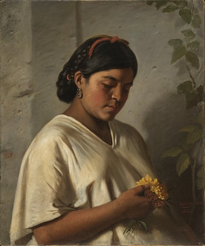 Felipe Santiago Gutiérrez, Portrait of a Woman with a Marigold (Retrato de dana con cempasúchil), 1876, Gift of Ronald A. Belkin, Long Beach, California