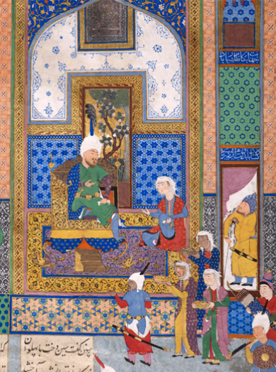 Sindukht Comes to Sam Bearing Gifts, Folio from the Shahnama of Shah Tahmasp, Iran, Tabriz, 1525–35, 18 3/8 x 12 3/8 in. Aga Khan Museum Collection, Geneva (AKM00496) Photo © Aga Khan Trust for Culture, Geneva.