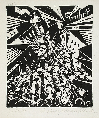 Constantin von Mitschke-Collande, Freiheit (Freedom), 1919, woodcut on laid paper, The Robert Gore Rifkind Center for German Expressionist Studies, © Constantin von Mitschke-Collande Estate