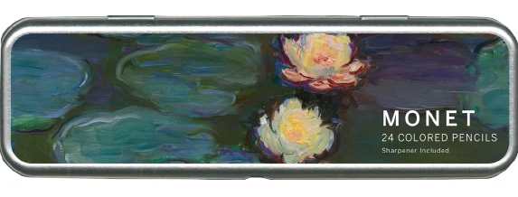 rectangular metal pencil case with Claude Monet's Nympheas painting printed on the top