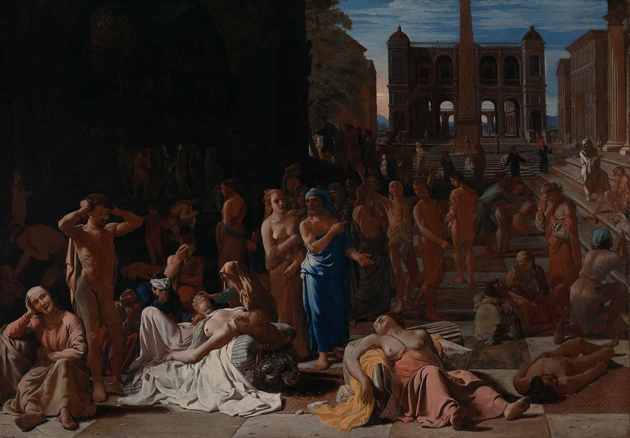 Painting of an outdoor plaza, filled with people. Several unconscious people are laid out upon crumbling columns in the foreground