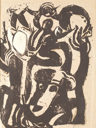 Hans Richter, Musik Dada (Music Dada), 1918, Linocut and white wash on paper, 10 1/2 in x 8 in., Private Collection, © 2013 Hans Richter Estate, Photo © 2013 Museum Associates/LACMA