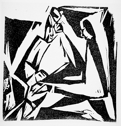 Hans Richter, Music, c. 1916, linoleum cut on wove paper, published in Die Aktion, The Robert Gore Rifkind Center for German Expressionist Studies, purchased with funds provided by Anna Bing Arnold, Museum Associates Acquisition Fund, and deaccession funds, © 2013 Hans Richter Estate