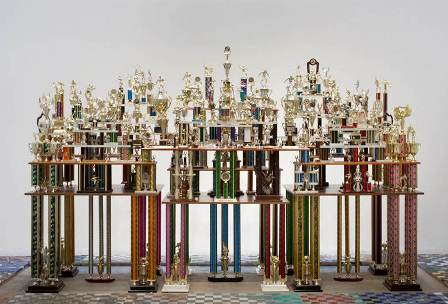 Ry Rocklen, Second to None, 2011, Trophies, trophy parts, wood, 94.5 x 146 x 39 inches Purchased with funds provided by AHAN: Studio Forum, 2013 Art Here and Now purchase