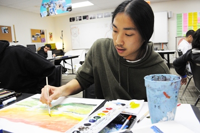 Stephen Na, student at the HeArt Project Hollywood Media Arts Academy, working on re-imagining the future LA landscape, inspired by 2001: A Space Odyssey