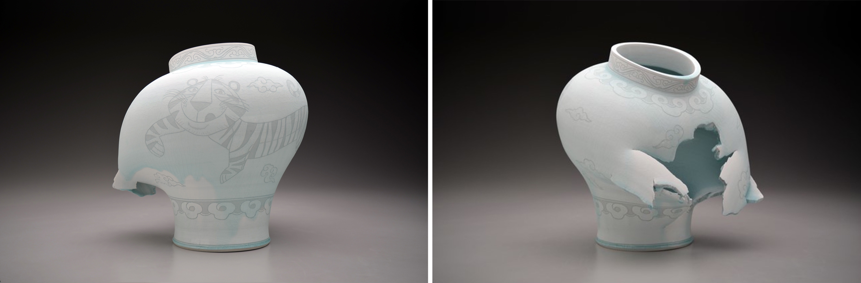 Two views of a ceramic jar with open side