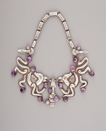 William Spratling, Double Jaguar Necklace, c. 1940, silver and amethyst, Gift of Ronald A. Belkin, Long Beach, California