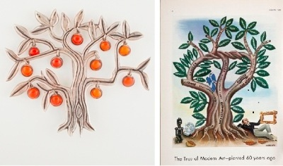 "Left: Frederick Walter Davis, ""Tree Brooch,"" 1945, silver and Mexican opal, gft of Penny Morrill, McLean, Virginia; Right: Miguel Covarrubias, ""The Tree of Modern Art—Planted 60 Years Ago,"" Vanity Fair, May 1933, © Miguel Covarrubias Estate, photo © 2013 Museum Associates/LACMA"