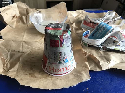 Build up your layers of paper-mache.