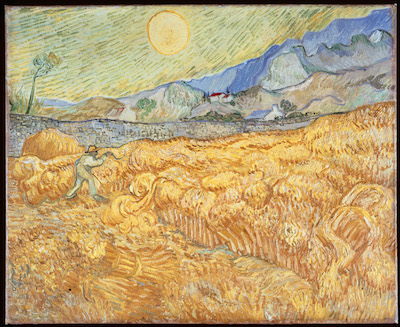 Vincent van Gogh, Wheat Field with Reaper (Harvest in Provence) (Champ de blé avec moissonneur), 1889, Museum Folkwang. Photo Credit: bpk, Berlin / Museum Folkwang/ Art Resource, NY