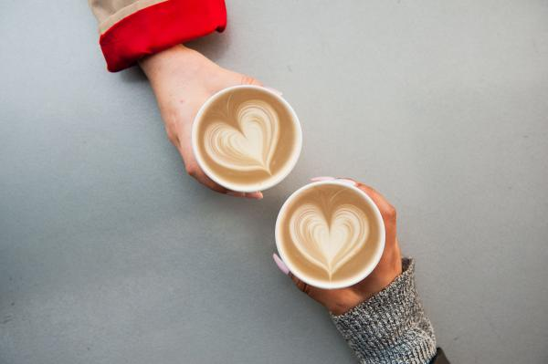 Image of lattes with heart latte art