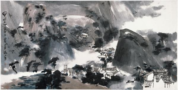 Gray ink painting of mountains