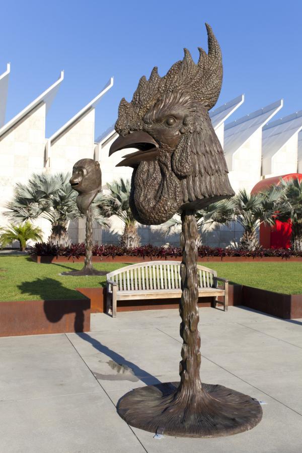 Bronze head of rooster