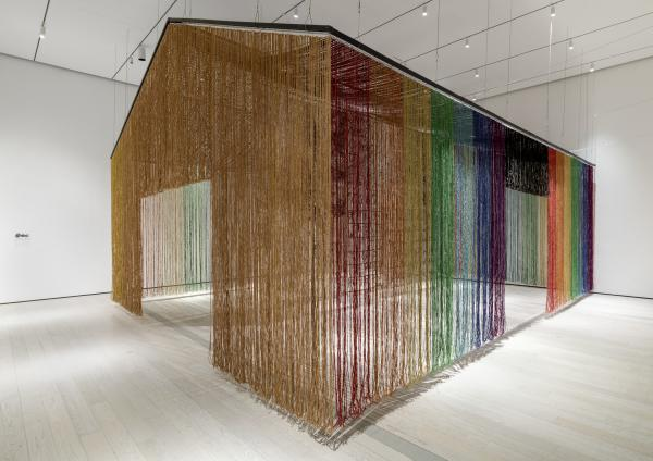 Installation photograph, featuring Gu Wenda's United Nations: American Code (2018-2019), in the exhibition The Allure of Matter: Material Art from China, at the Los Angeles County Museum of Art