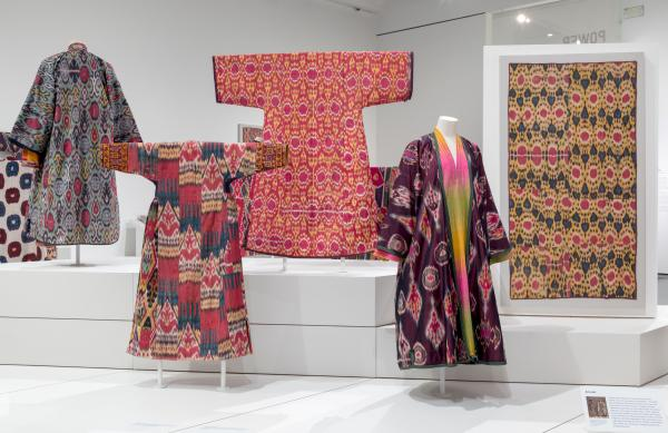 Installation photograph, Power of Pattern: Central Asian Ikats from the David and Elizabeth Reisbord Collection at the Los Angeles County Museum of Art