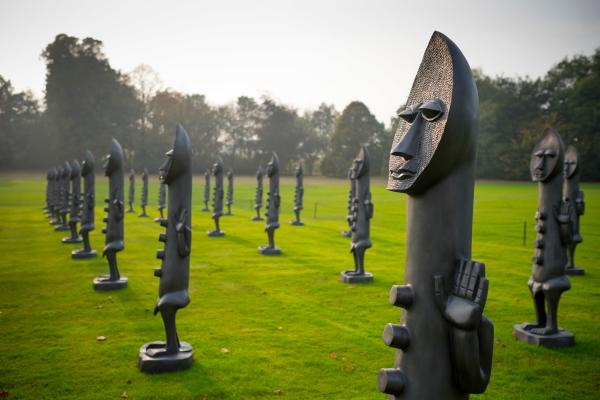 Zak Ové, The Invisible Men and the Masque of Blackness, 2016, installation view, Yorkshire Sculpture Park, Yorkshire, UK, 2016-17