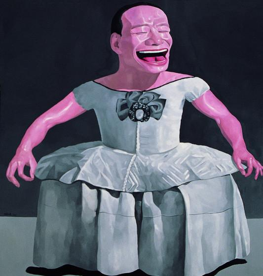 Painting of laughing pink man in dress