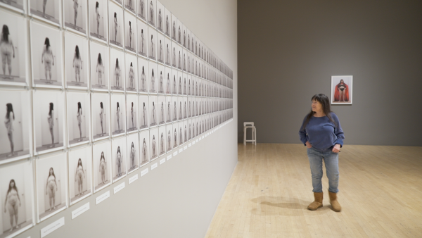 Eleanor Antin viewing Eleanor Antin: Time's Arrow at LACMA