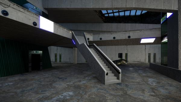 Virtual render of building interior with staircase