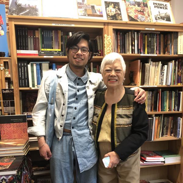 LACMA-ASU Fellow Matthew Villar Miranda with Linda Nietes of Pinta Dos Gallery and Philippines Expressions Bookshop