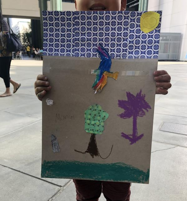 Young artist's creation from Gloria Westcott's workshop during Andell Family Sundays.