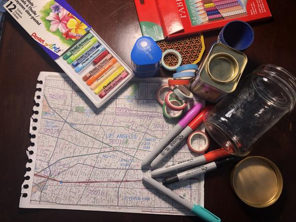 Supplies for LACMA's at-home art activity Lines and Layers