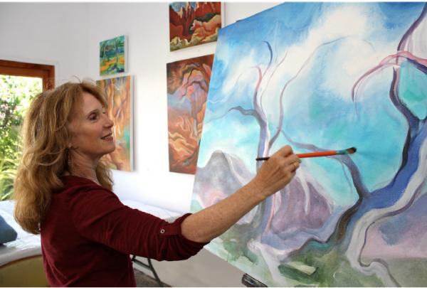 Linda Jacobson in her Los Angeles studio, photo courtesy of the artist
