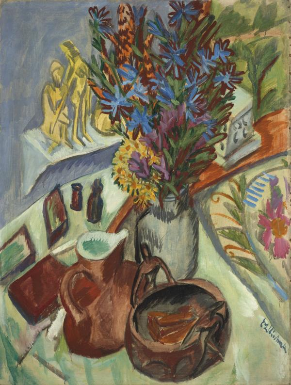 Colorful still-life painting of flowers and jugs