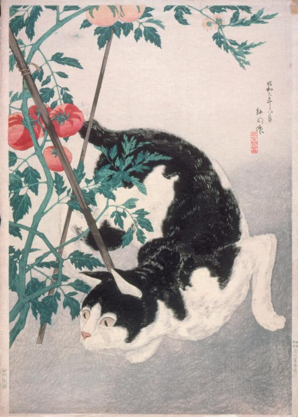 Takahashi Hiroaki, Cat with Tomato Plant, 1931