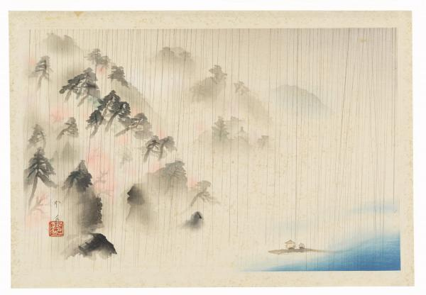Japanese print of mountains and coastline
