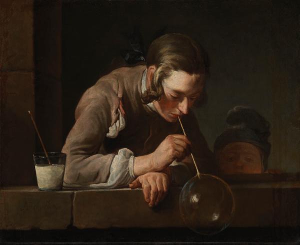 Image of painting, Jean-Baptiste-Siméon Chardin, Soap Bubbles, after 1739