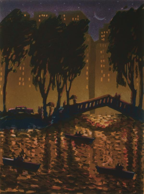 print of Echo Park bridge at night