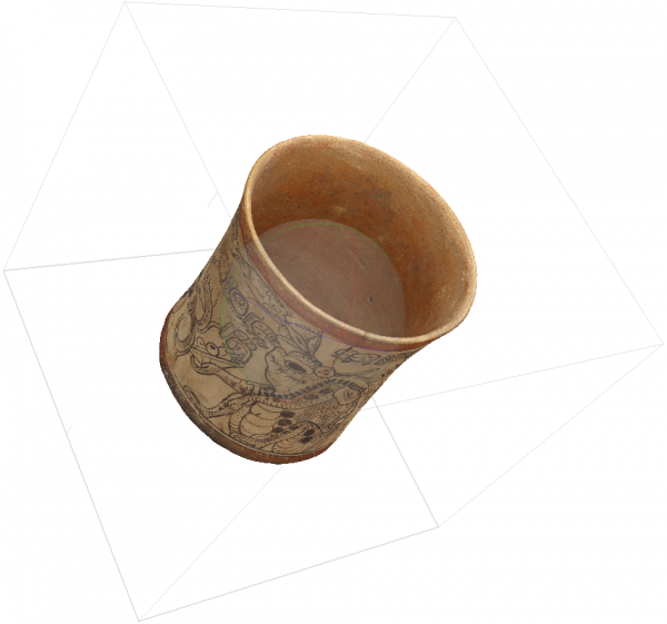 Capture of a 3D model of a Classic Maya codex-style vase generated using Agisoft Metashape
