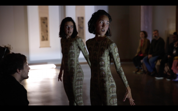 Jennie MaryTai Liu and devika wickremesinghe performing Living Female Respondent or 53 Yakshi in LACMA's Korean Art galleries, photo by Ian Byers-Gamber