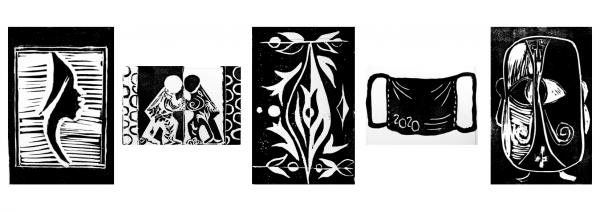 Left to right: Artwork by Joyce Allen, Linda Patterson, Emily Tigerman, Carolyn Kessler, and Opal Lemus
