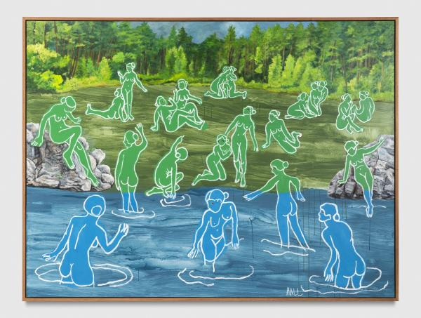 Painting with figures drawn on landscape