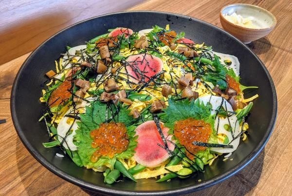 Bowl of colorful chirashi zushi