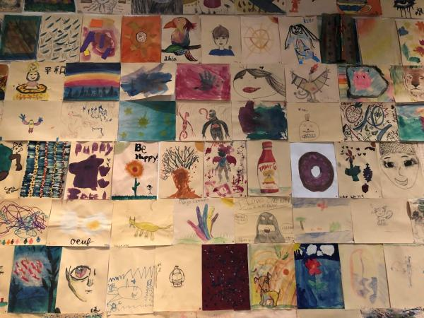 Community wall in the Boone Children's Gallery. Artwork made by visitors.