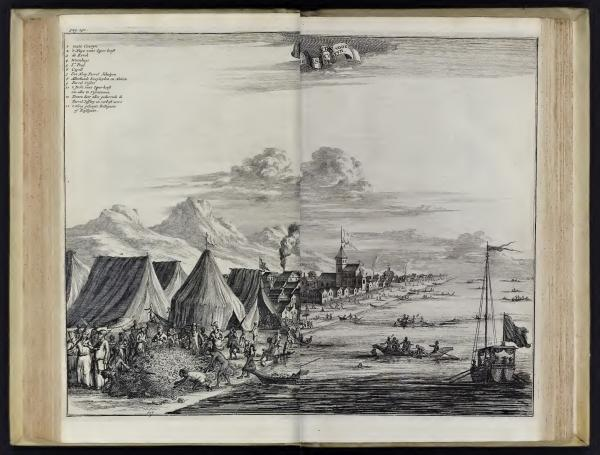 "Johan Nieuhof, Parel Vissery voor toute Couryn"" (Pearl fishing before Tuticorin) in Gedenkweerdige Brasiliaense Zee en Lantreize, published by Jacob van Meurs, Amsterdam, 1682"