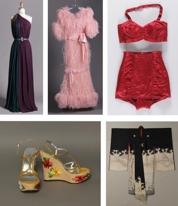 Clockwise from top left:  James Galanos, Woman's Dress, 1975; Yves Saint Laurent, Woman's Dress, Fall/Winter 1987–88; Catalina Sportswear, Woman's Swimsuit, c. 1940; Child's Ceremonial Kimono with Pair of Mandarin Ducks, Blossoming Plum Tree, and Cherry Blossoms, Japan, Meiji period (1868-1912); Dolce & Gabbana, Woman's Shoes, 2007