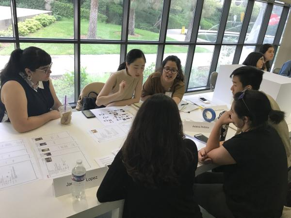 Danielle Pesqueira (advisor) with 2019 Mellon Summer Academy students: Vivian Change, Carolina Benitez, Brent Fong, Ariana Robles and Jackeline Lopez