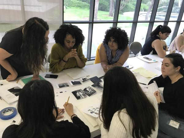 2019 Mellon Summer Academy students: Helen Pinto, Sajdah Nasir, Jennifer Cernada (advisor), Miranda Claxton, Mia Harder, and Jennifer Payan working on their exhibition idea