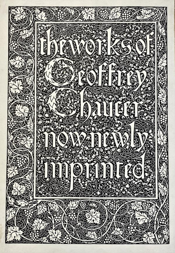 Ornate title page of Chaucer